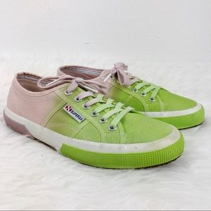 Superga 2750 Green and Pink Ombre Sneakers 8.5
